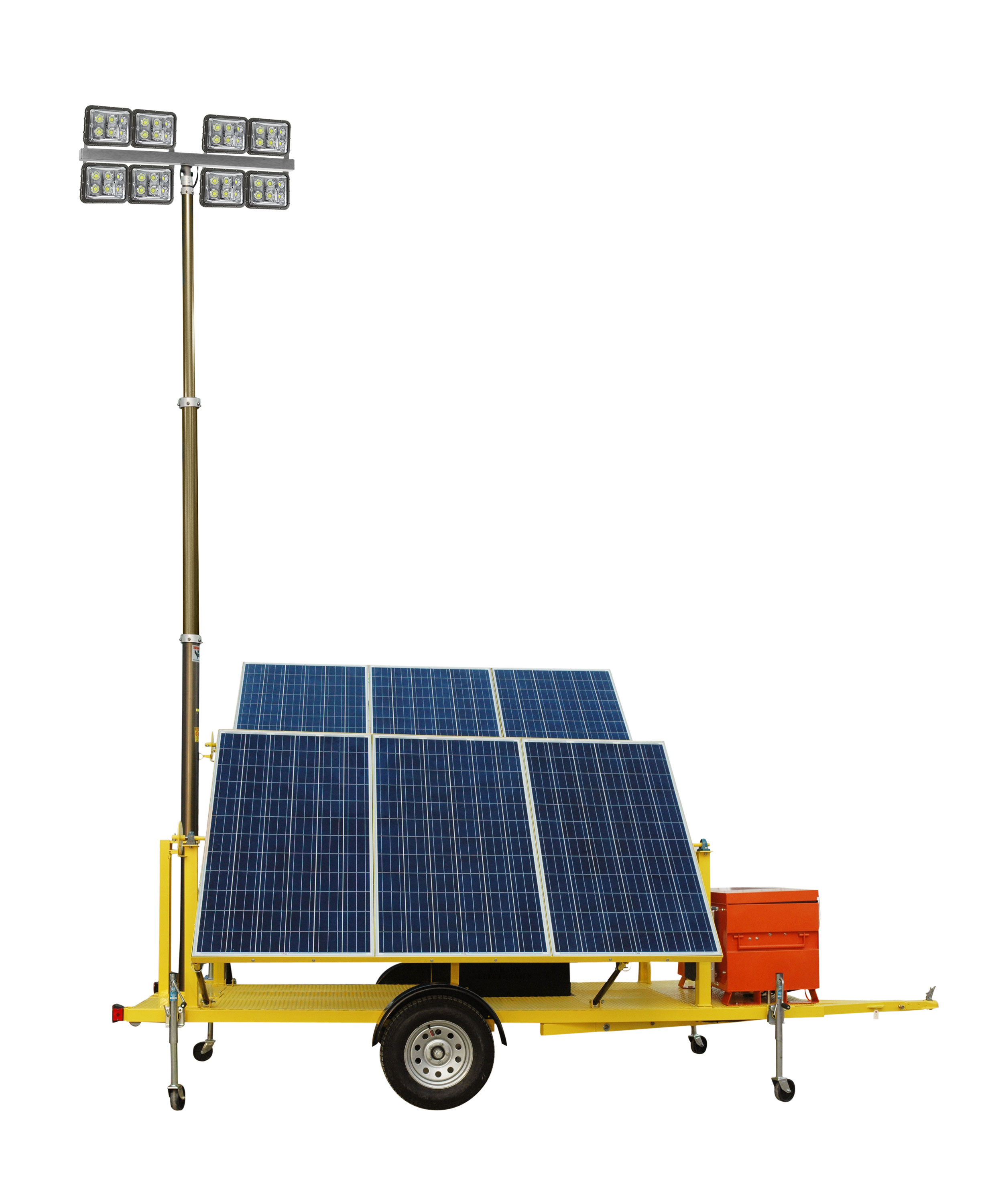 Solar Powered Light Tower Equipped With Four 120 Watt LED