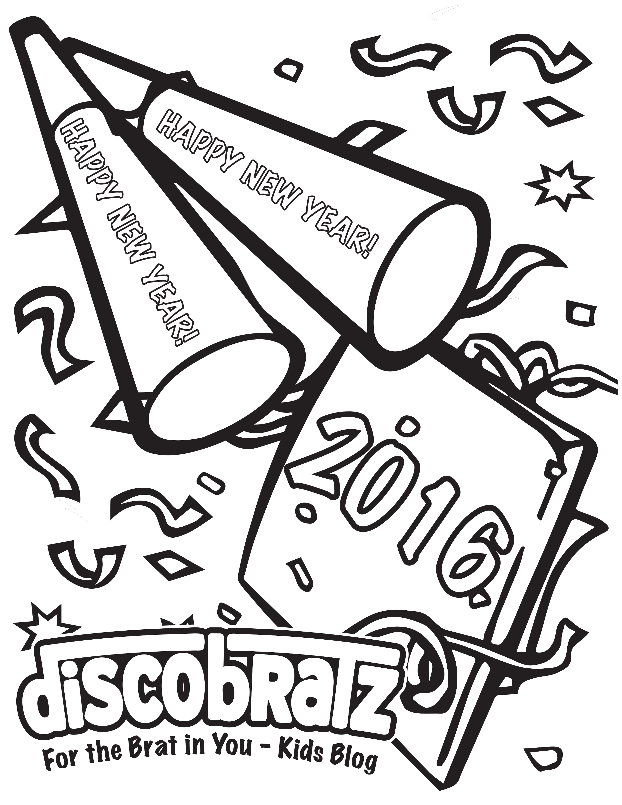 Free coloring pages new years eve