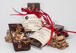 Decadent chocolate treat made with 61% single source Venezuelan chocolate, caramelized Maitake mushrooms and toasted hazelnuts.