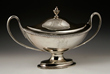 Irish covered soup tureen, silver, with gadroon edge, open handles and engraved crest, made in Dublin 1777 by Richard Williams, hallmarks on base