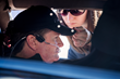 """Sam Schmidt prior to test drive with driver's """"hat"""" that works with infrared motion-sensing cameras. Similar configuration will be on the CXC Motion Pro II."""