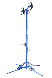 "Seven to Fourteen Foot Adjustable LED Light Tower with 8"" Wheels"
