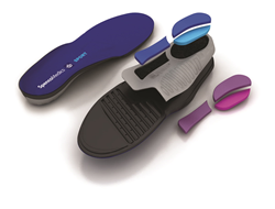 "Spenco Medics™ Preformed Professional Orthotics are available in four configurations: ""Sport"" with a blue, high-performance technical top cover and ""Dress"" with a leather-style brown top cover to complement most dress shoes."