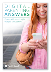 "The cover of FamilySignal's new e-book, ""Digital Parenting Answers: Expert Advice and Insight You Can Use Now."""
