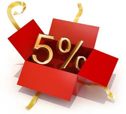Gift box opening with five percent discount