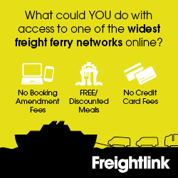 Image of a freight ferry with text illustrating that commercial ferry booking is easy with Freightlink