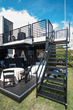 Made of steel and stronger than a tent, shipping containers afford shelter in all weather conditions, as well as banner display and exceptional game viewing indoors or outside.