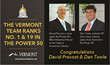 "Vermont's Captive Insurance Officials Voted to Captive Review's ""Power 50 List""; David Provost Tops the List and Dan Towle Voted in at 19th in a Global Ranking"