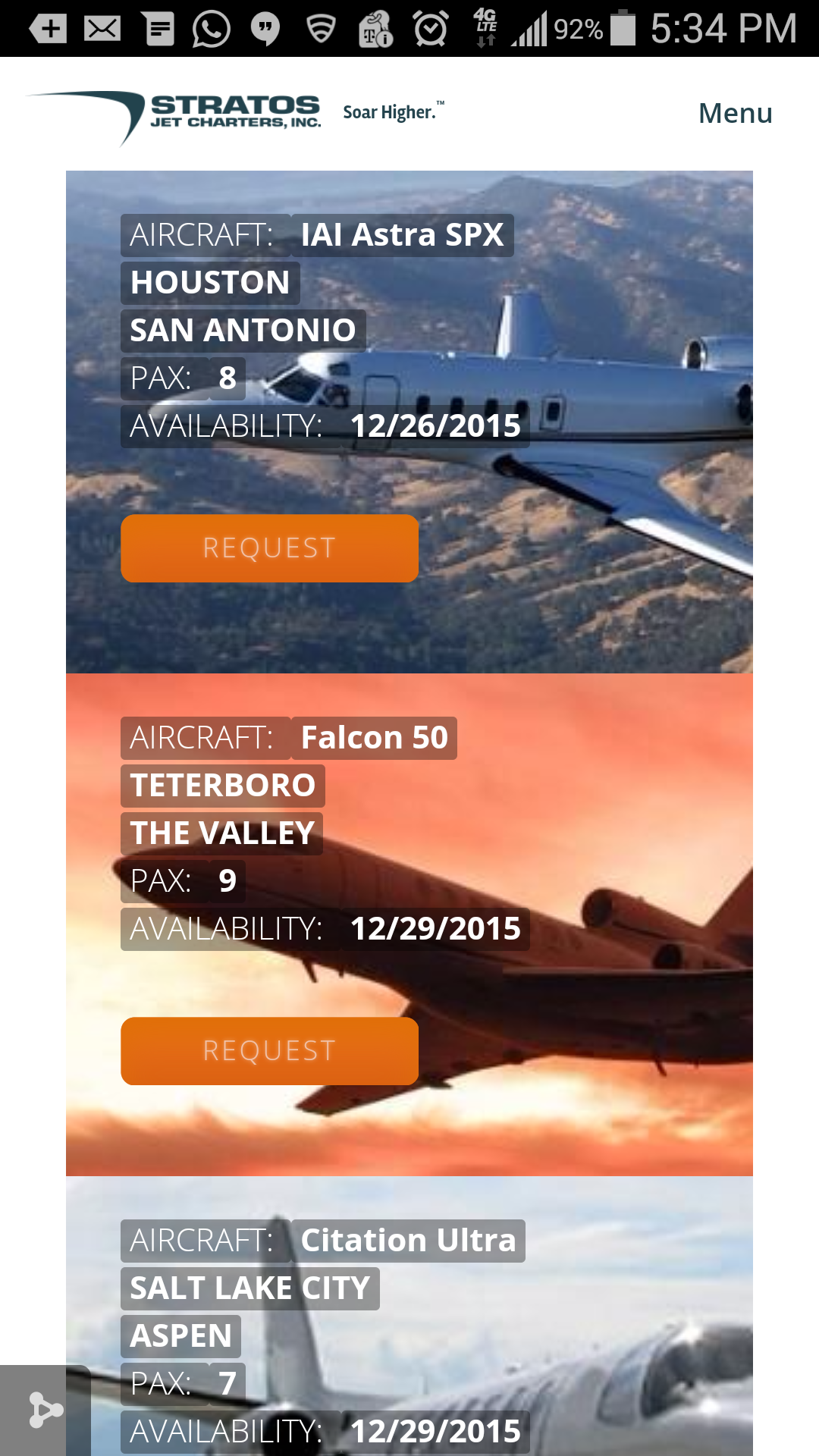 Stratos Jet Charters Launches MobileFriendliest Empty Legs Site