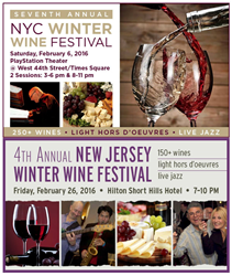 New York Wine Events hots New York City and New Jersey winter wine tasting events in February 2016/