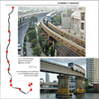 Maps and photos illustrate the many transit monorails of the world