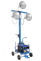 Portable Lighting System Equipped with Three 1000 Watt Metal Halide Lamps