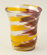 "Carlo Scarpa (Italian, 1906-1978), ""Pennellate"" vase, clear glass, with fused ribbons in yellow and purple, made by Venini & Company, circa 1960, signed ""Venini Murano"