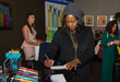 Viola Davis Tests Out the Variety of Pens Gifted at the GBK and Pilot Pen Gift Lounge