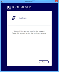Password Reset Enrolment Interface