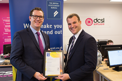 DCSL Software presented with their ISO 9001:2015 certificate