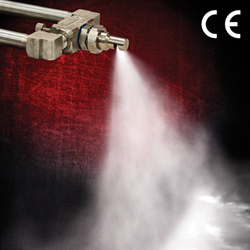 EXAIR's new Internal Mix Deflected Flat Fan Atomizing Spray Nozzle