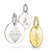 A variety of laser engraved tags used for jewelry branding