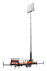 Trailer Mounted Fold Over Seven Stage Light Mast Equipped with 500 Watt LED Light Heads