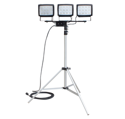Three to Ten Foot Telescoping Tripod Equipped with Three 40 Watt LED Lights