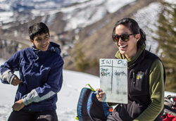A Graduate Fellow of Walking Mountains Science Center teaching Eagle County students about snow science.