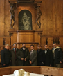 Photo in the first Anatomical Theater at the University of Bologna (Mr. Stefano Ospitali, CEO Cesare Ragazzi Laboratories, Marwan Saifi, MD (Wroclaw, Poland), Prof Paolo G. Morselli MD (Bologna, Italy