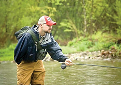disabled american veteran participating in project healing waters fly fishing