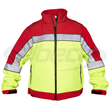 Elbeco's Color Block Soft Shell Jacket in HiVis/Red