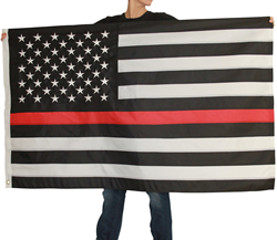 image of model holding thin red line flag