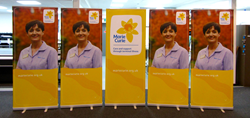 Marie Curie Poole received a donation of five custom banners from their local exhibition stand contractor, Quadrant2Design