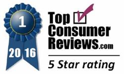 TopConsumerReviews.com 5-Star Blue Ribbon Award