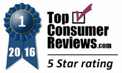 TopConsumerReviews.com 5-Star Blue Ribbon Award