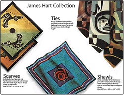 Custom ties, silk scarves and shawls with James Hart art work.