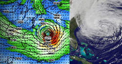 Simulations of Hurricane (later Superstorm) Sandy with a substantially warmer ocean (left) resulted in storms more than twice as destructive. Credit: W. Lau/UMD/ESSIC