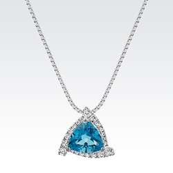 Trillion London Blue Topaz and Round Diamond Triangle Pendant