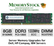8GB DDR3 Memory 1333MHz PC3 10666 ECC Registered for Server Upgrade Prices Slashed