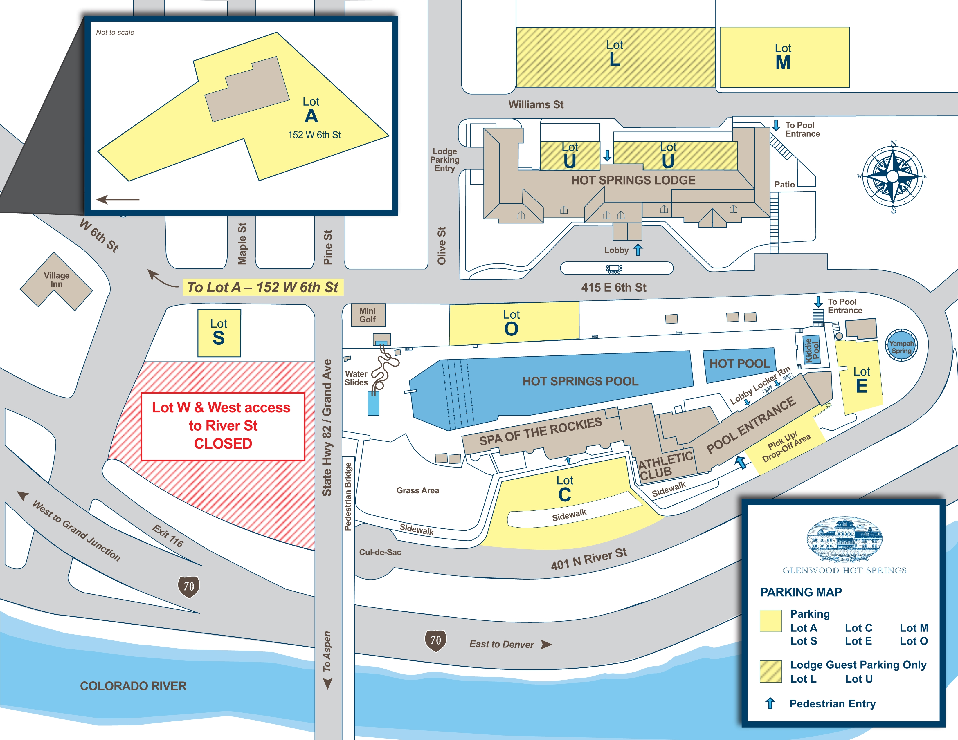 glenwood hot springs parking map . new shuttle service and parking options now available as glenwood