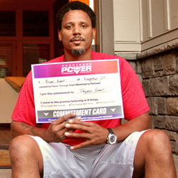 Brian Grant with his PTP Commitment Card