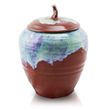 Hand made and kiln fired ceramic cremation urn with a capacity of up to 200 cubic inches.