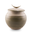 Wheel thrown ceramic cremation urn with a simple and elegant design, 100% handmade in Minnesota.