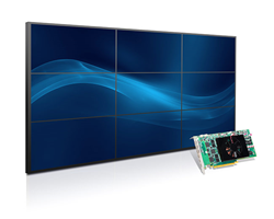 Matrox C900 single-slot graphics card drives nine 1920x1080 displays for 3x3 video walls  for digital signage and control rooms.