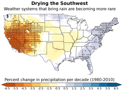 Map of precipitation changes over the United States