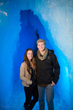 A couple after getting engaged at the Ice Castles.