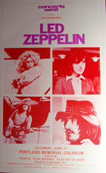 Original 1972 Portland Memorial Coliseum Led Zeppelin Concert Poster