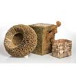 baskets of rush, burdock burrs and bay bark