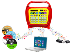 Load or record any music or audio from CD, computer, tablet, smartphone or USB flash drive. The included microphone for the karaoke feature lets kids sing along and record their performances.  Even read and record their favorite books in your own voice. O