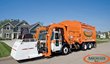 An existing automated truck operating in Arrowaste Inc.'s residential waste pickup service.