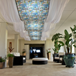 Hotel Caravelle's new lobby features textite art by Debbie Sun.
