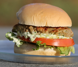The ultimate meatless veggieburger made with Burpee's new 'Meatball' eggplant,  a more healthy alternative for meat.