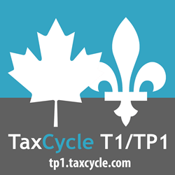 TaxCycle T1 and TP1 for both Canadian Federal and Québec personal tax returns. Fleur di lis Canadian maple leaf flag Stephdokin